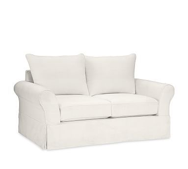 PB Comfort ECO Roll Arm Slipcovered Loveseat, Knife Edge Down Blend Wrapped Cushions, Organic Cotton Basketweave Warm White