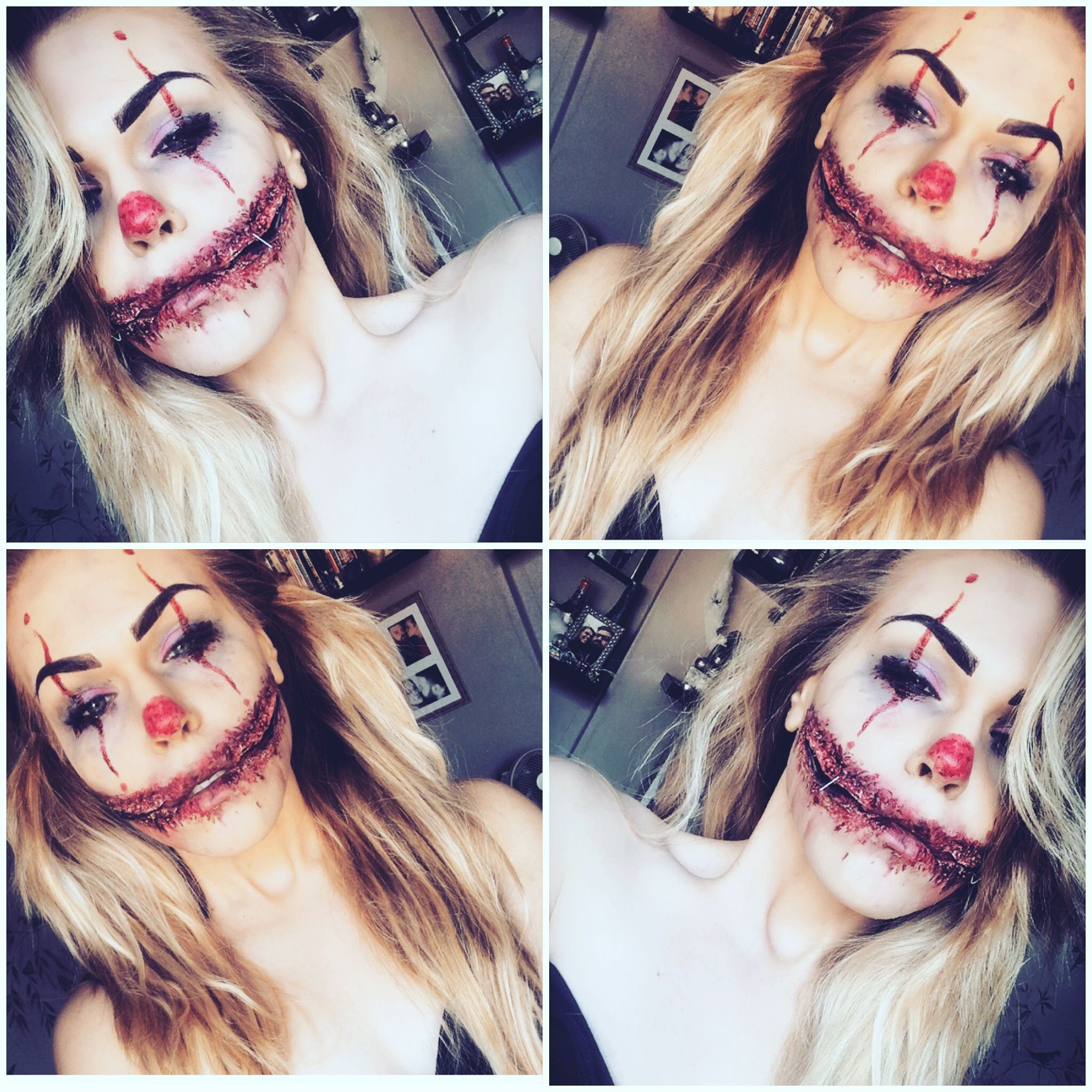 Horror clown Halloween Makeup ! Split mouth clown gore makeup ...