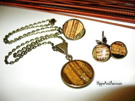 Bronze Jewelry Set Green Jewelry Gift her от HippoAndRaccoon