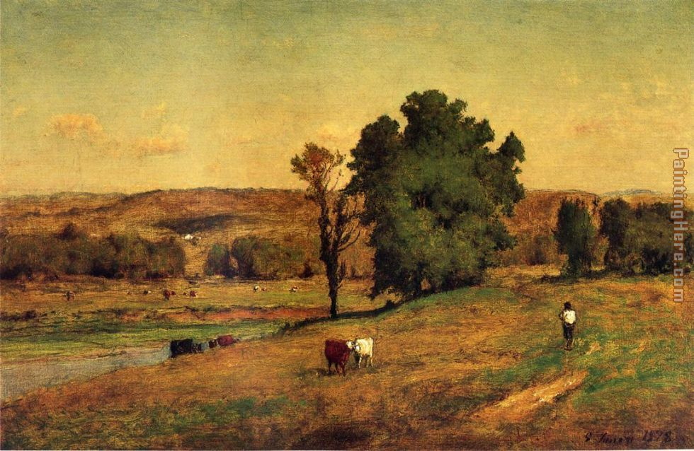 Inness landscape with figure painting anysize 50