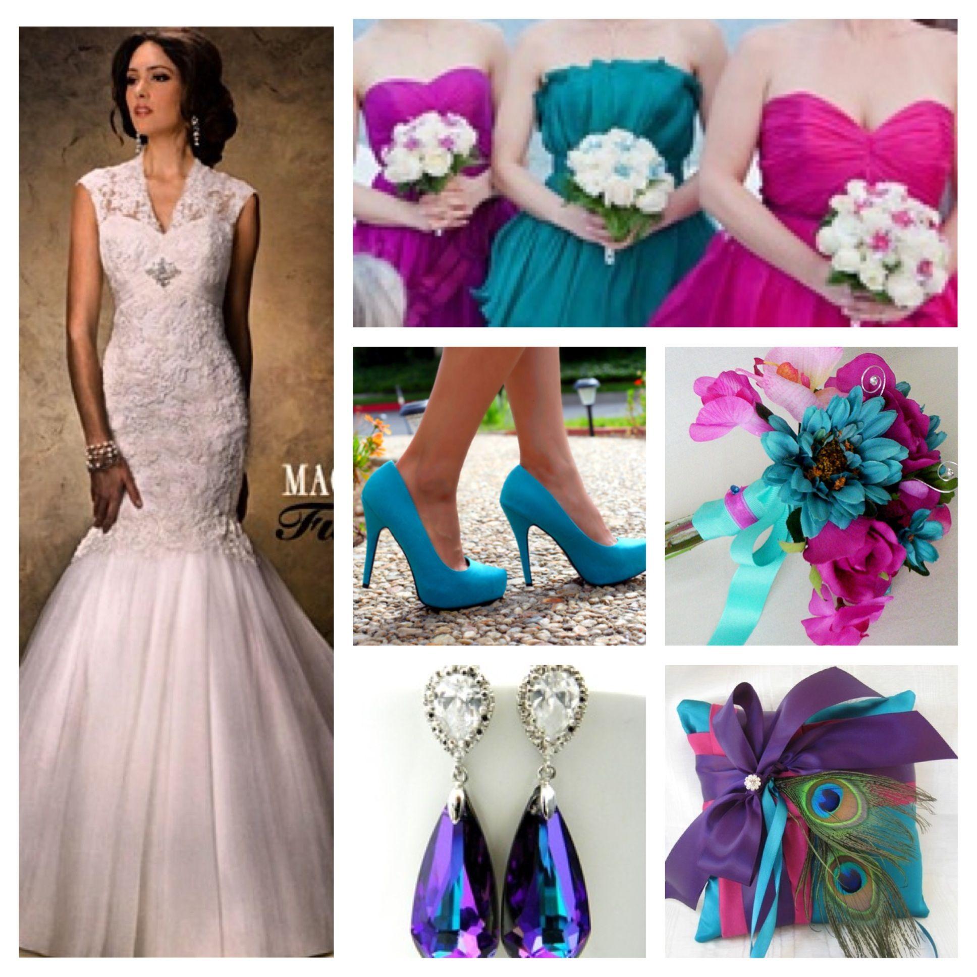 Teal And Fuchsia Wedding Colors: #teal #purple #fuschia #wedding