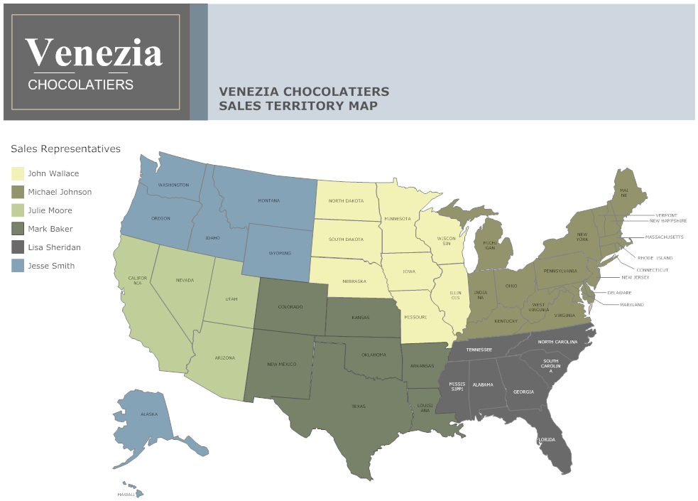Sales Territory Map Example Chocolate Company Sales Territory - Us sales territory map