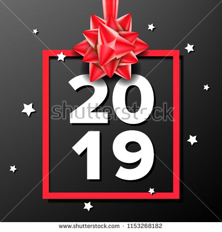 2019 happy new year background vector numbers 2019 bow holiday new year celebration banner card dark illustration