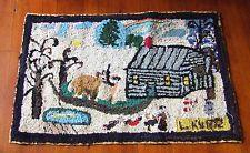 Old Folk Art Hooked Rug Winter Snow Log Cabin Primitive Country Cottage Antique