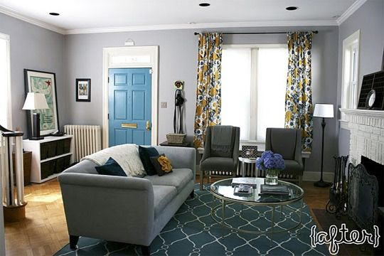 Before After Erin Sean S 1 Year House Aversary Teal Living Rooms Living Room Green Living Room Colors