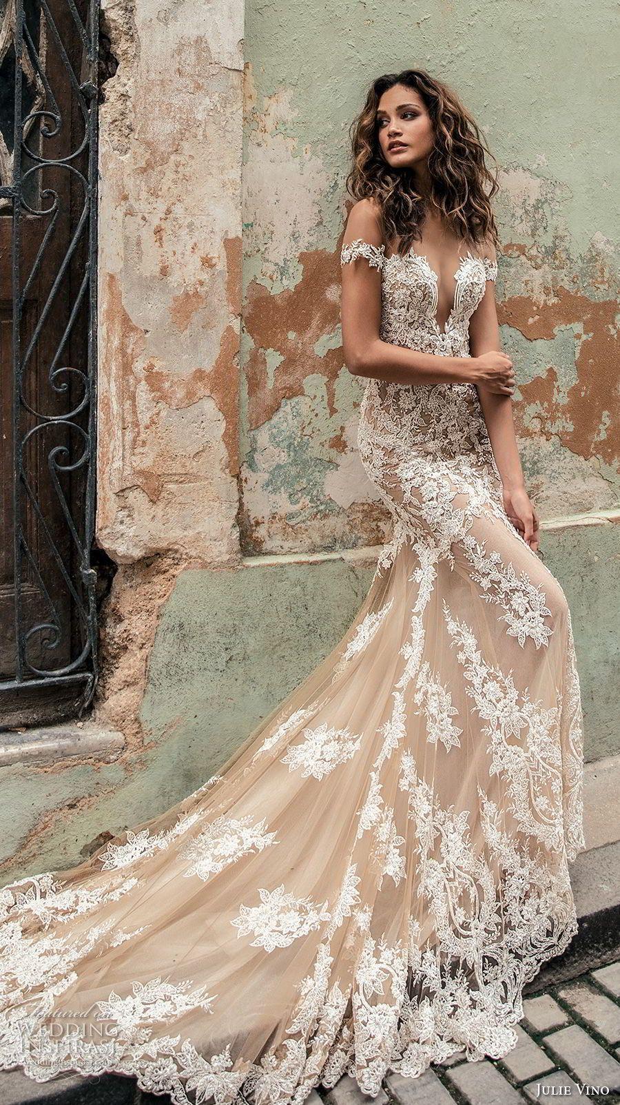Bluse Brautkleid aus nude Tüll und ivory Spitze mit tiefem ...