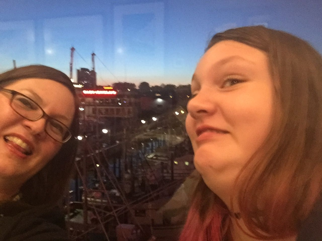 My daughter and I posing in front of the view while eating at Alioto's on Fisherman's Wharf, January 2017.