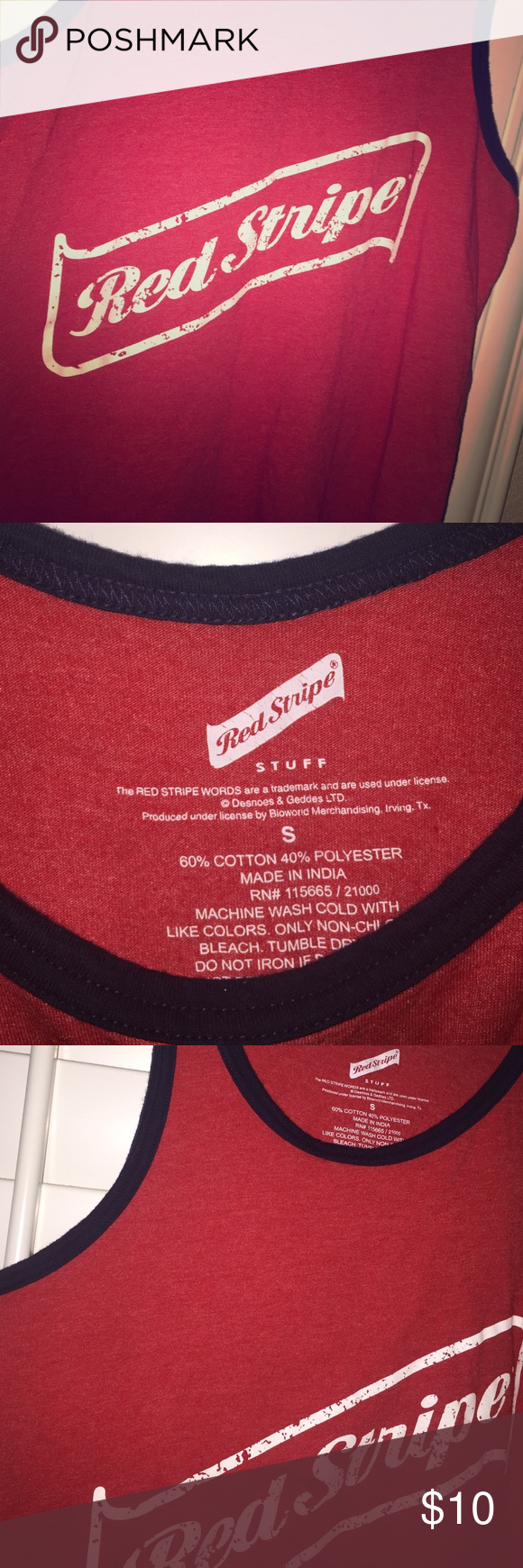Men S Red Stripe Tank Top Red Stripe Beer Tank Top Prefect For Any Beer Lover Shirts Tank Tops Red Striped Tank Top Red Striped Tank Striped Tank Top