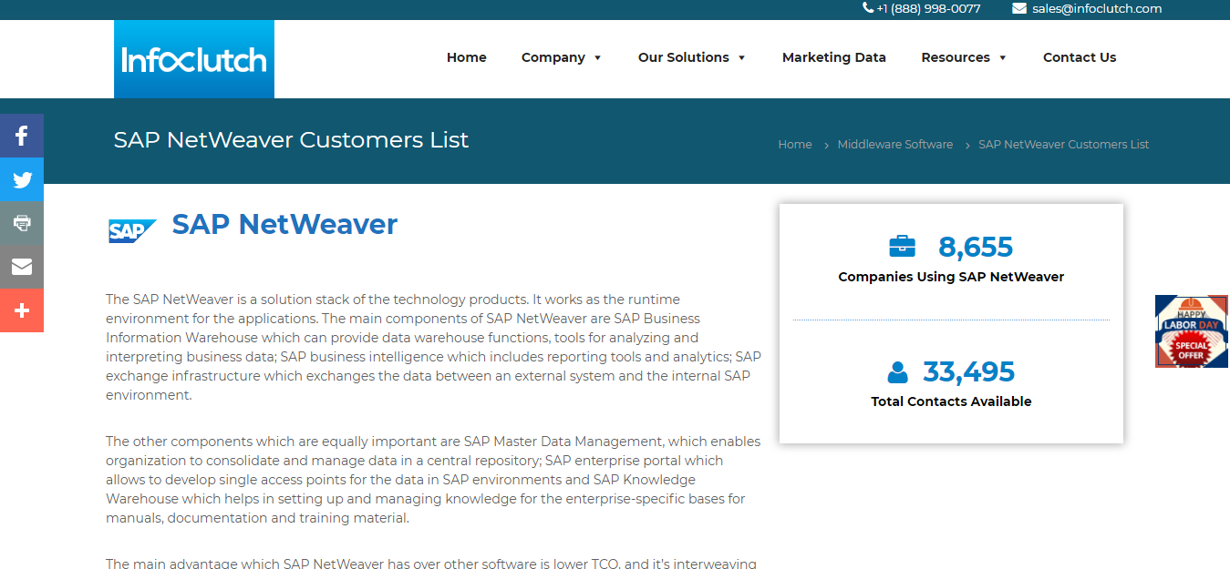 List of Companies Using SAP NetWeaver, Market Share and