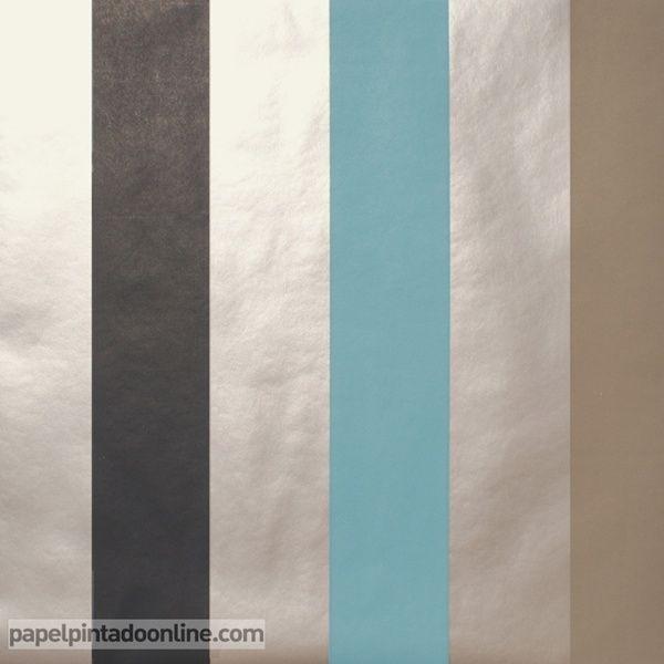 Papel Pintado ARTIST 71_13_62, papel de rayas en negro, azul, marrón ...