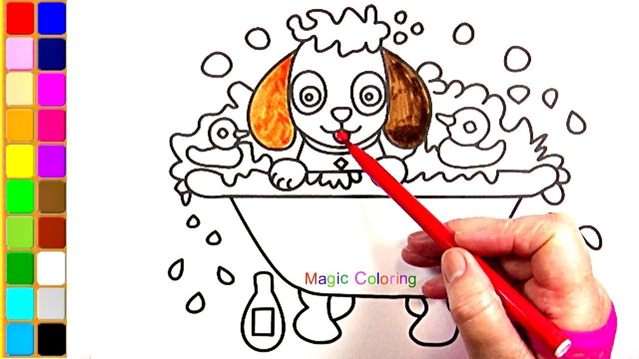 Puppy Having A Bath Drawing And Coloring Video For Kids Magic Coloring Coloring Books Color Drawings