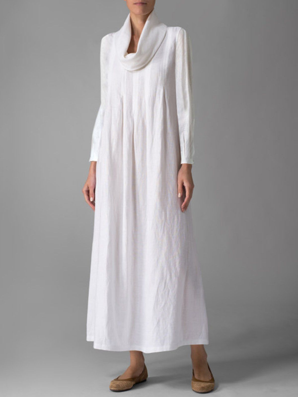 Plus size white casual long sleeves turtle neck linen maxi dress
