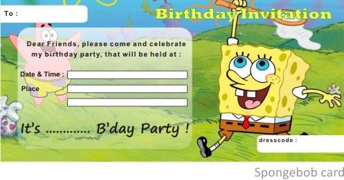 Download Spongebob Birthday Invitations Ideas Download this - birthday invitation card template free download