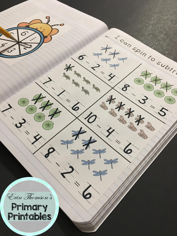 Kindergarten Math Interactive Notebook Subtraction From