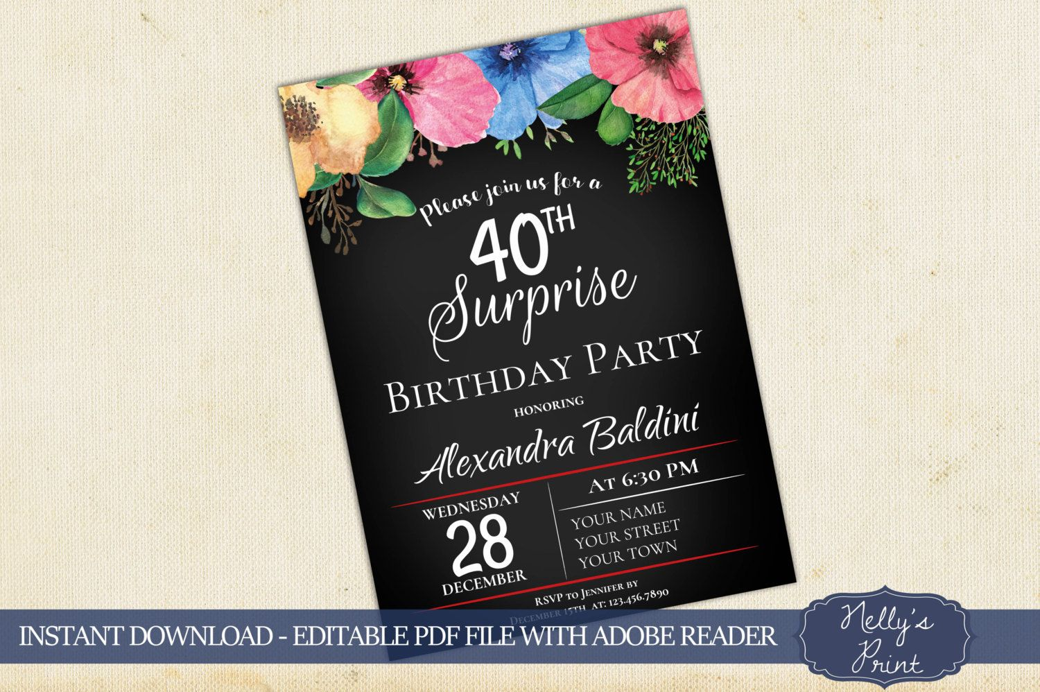 40th Surprise Birthday Invitation, 50th, 60th Birthday Invitations ...