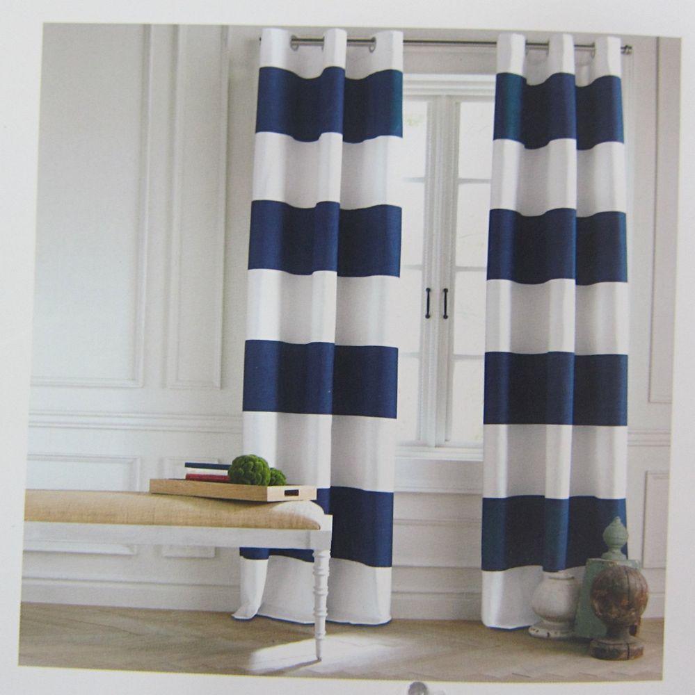 Tommy Hilfiger Cabana Stripe Navy Blue Pair Window Curtain Panels