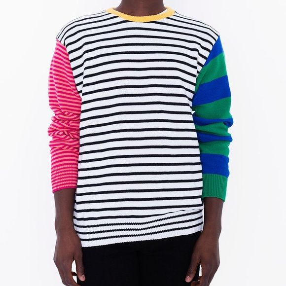 American Apparel Sweaters - Unisex Recycled Cotton Mixed Stripe Pullover