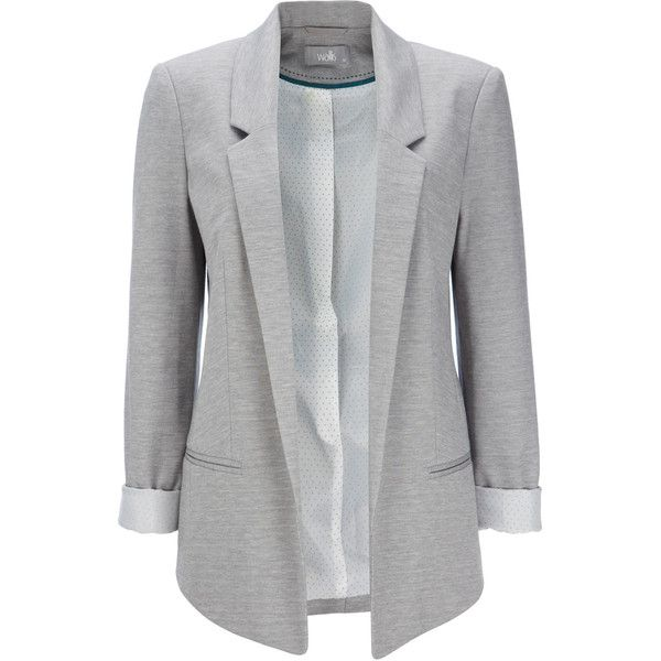 Grey Ponte Blazer Jacket ($63) ❤ liked on Polyvore