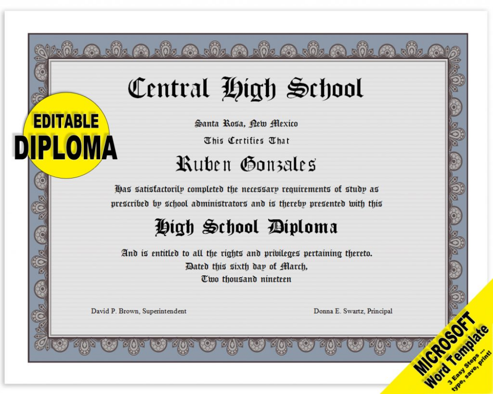 Classic Diploma Certificate Template Digital Download