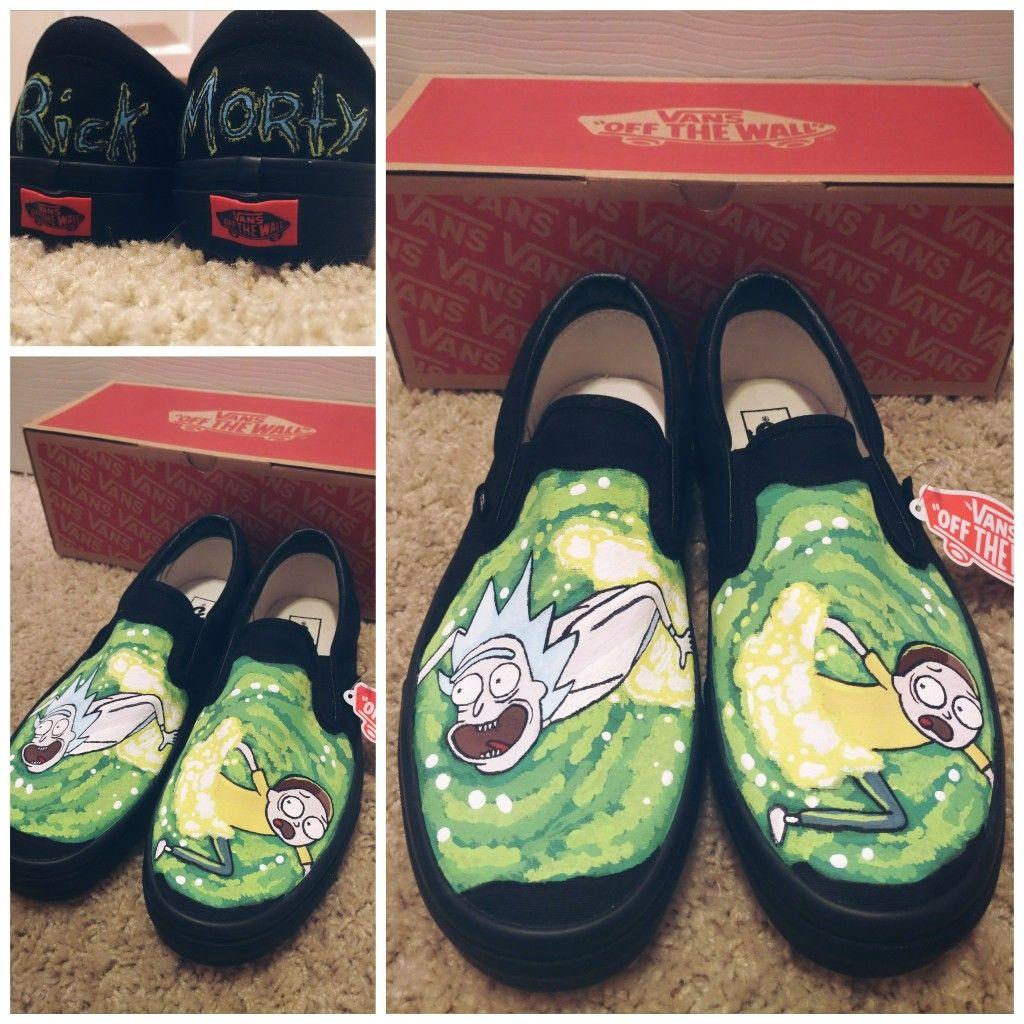 Custom painted Rick and Morty Vans. | Custom vans shoes, Diy