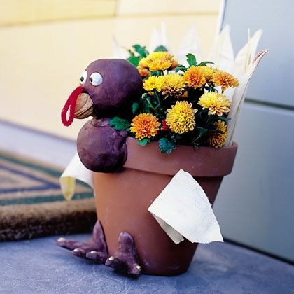 Turkey Planter Thanksgiving Craft