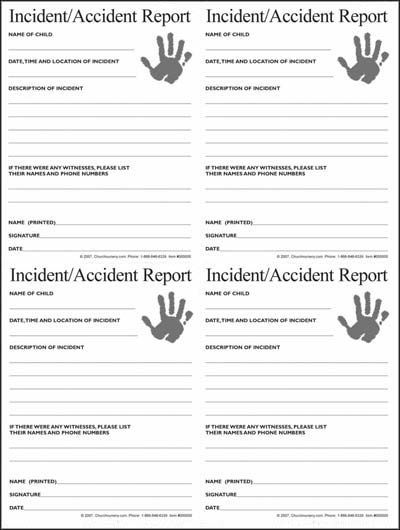 Nursery Incident\/Accident Form MPC Nursery Pinterest Nursery - fall incident report