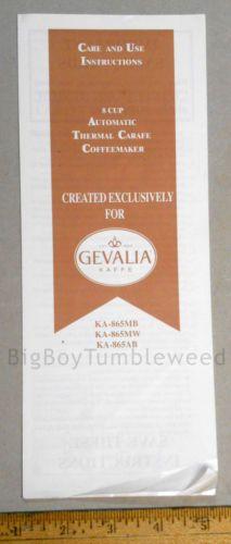 Owners Manual Print Gevalia Kaffe Coffee Maker Care Instructions Ka 865mb Ad
