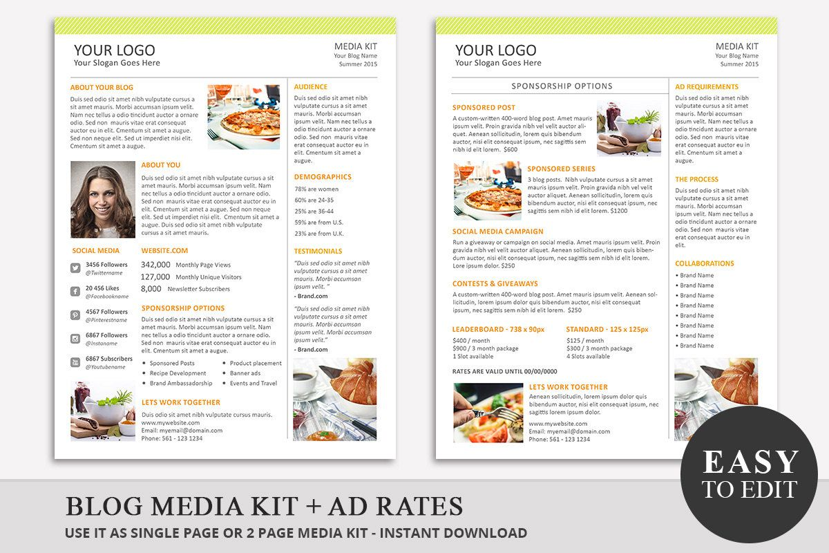 Blog Media Kit Template   Ad Rate Sheet Template  Press Kit