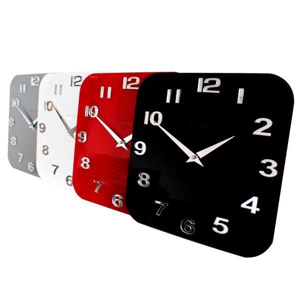 White Red Silver Black Gloss Roco Verre Acrylic Modern Retro Wall Clock