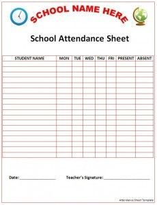 free attendance sheets