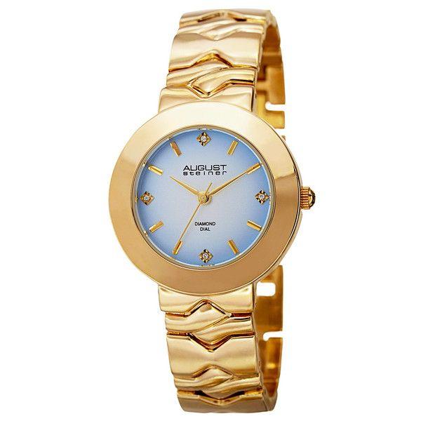 Women's August Steiner Women's Diamond Bracelet Watch ASGP8157YG ($40) ❤ liked on Polyvore featuring jewelry, watches, gold, jewelry & watches, women's watches, diamond wrist watch, bracelet watch, diamond jewelry, august steiner and dial watches