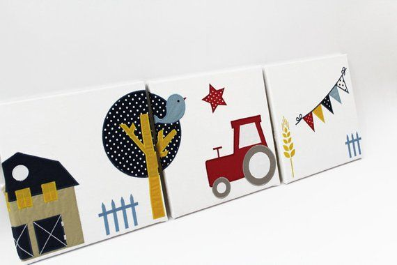 3tlg. Wandbild TRAKTOR Bild f. Kinderzimmer Kinder