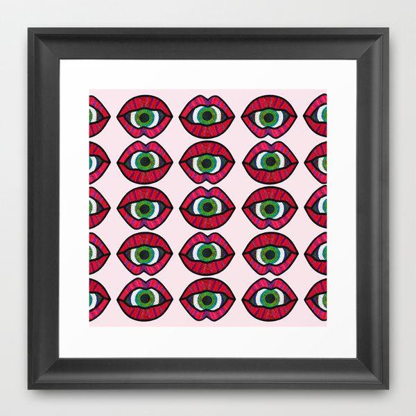 Surreal Lips Framed Art Print