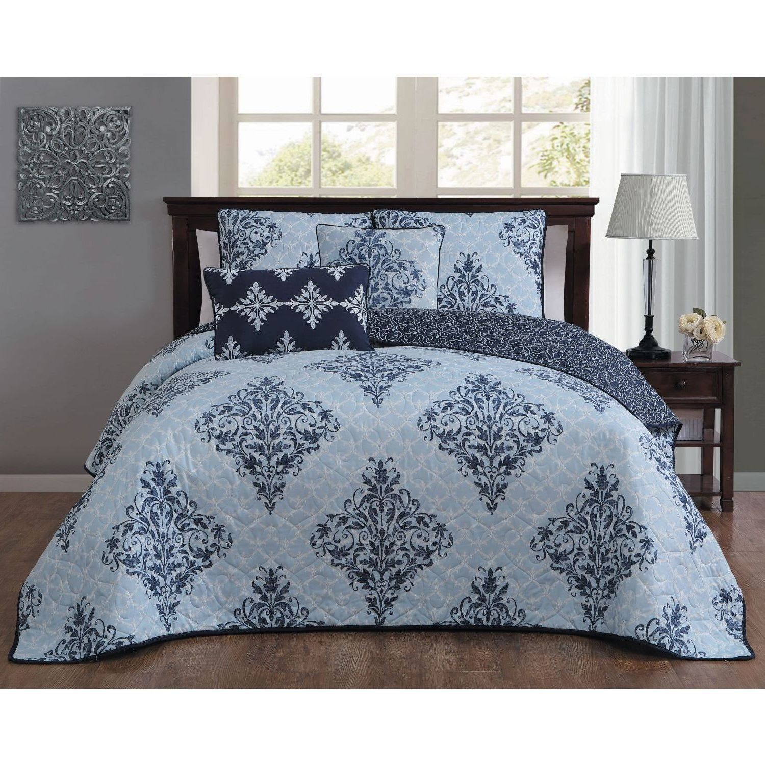 Victorian Bedding Blue Damask Queen Size Quilt Set Bohemian Motif Chic Geomectric