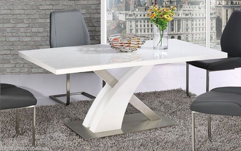 Modern Mayfair High Gloss Chrome White Metal 6 Chairs Seater Dining Table Only Ebay White Glass Dining Table White Gloss Dining Table Dining Table