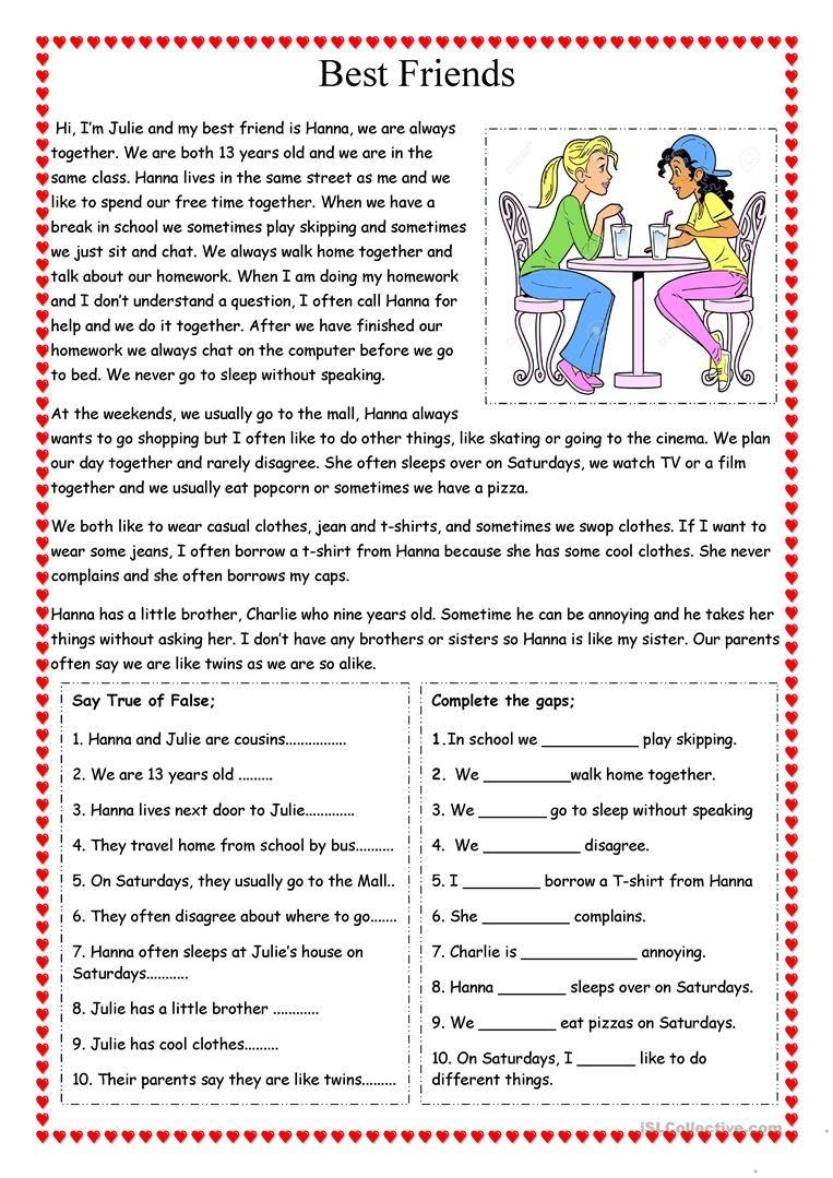 Best Friends Worksheet Free Esl Printable Worksheets Ma Reading Comprehension Passages Reading Comprehension Worksheets Free Reading Comprehension Worksheets