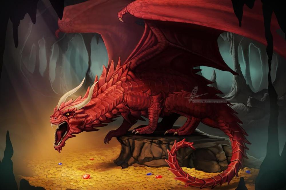 Dragon Treasure By Aonikaart On Deviantart Fantasy Dragon Dragon Pictures Red Dragon