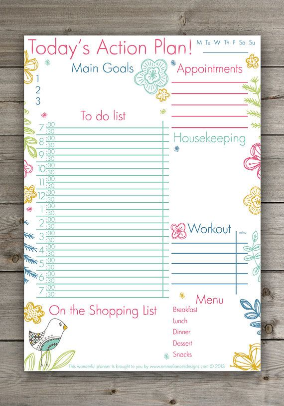 Cute Daily Planner! Cute Hand Drawn Floral Planner, pdf - INSTANT - downloadable daily planner