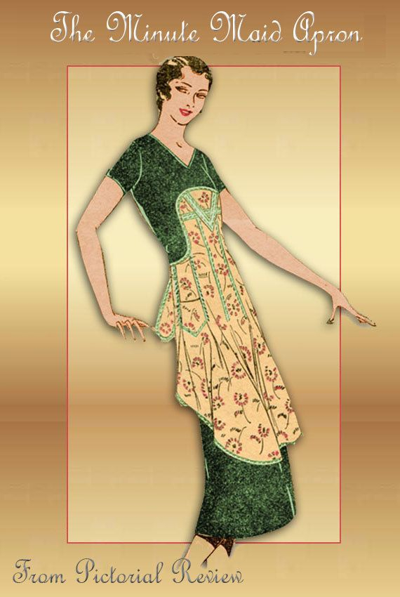 One Yard Minute Maid Apron Pattern from Pictorial Review Gatsby Era ...