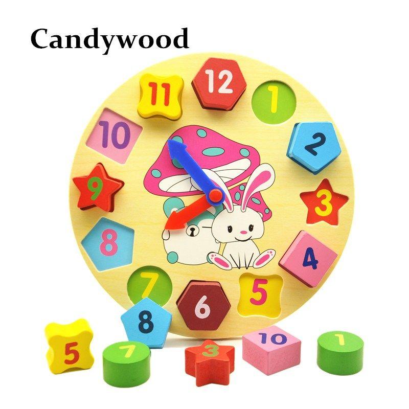 Kids Toys Wooden Clock  Detachable Jigsaw Block Montessori Children Number