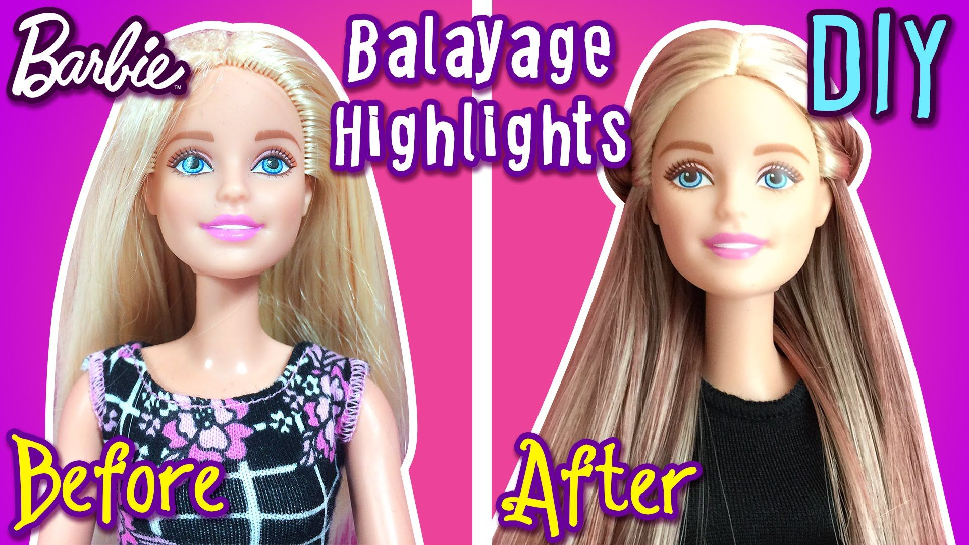 How To Make Balayage Highlights with Barbie Dolls Hair DIY Barbie