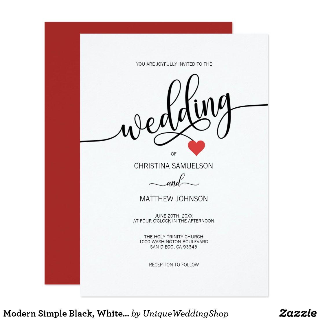 Modern Simple Black White Red Heart Wedding Invitation Heart