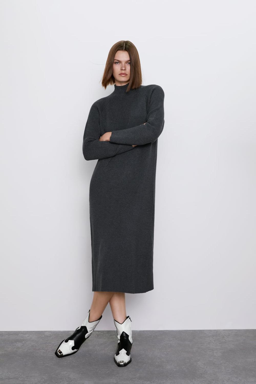 Vestido Cuello Perkins Ver Todo Punto Mujer Zara España Long Knitted Dress Mock Neck Dress Shirt Dress Style