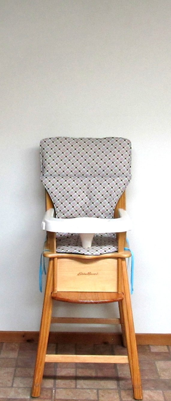 high chair with accessories revolving cream eddie bauer wooden replacement pad cushion baby accessory a girly plaid child fee