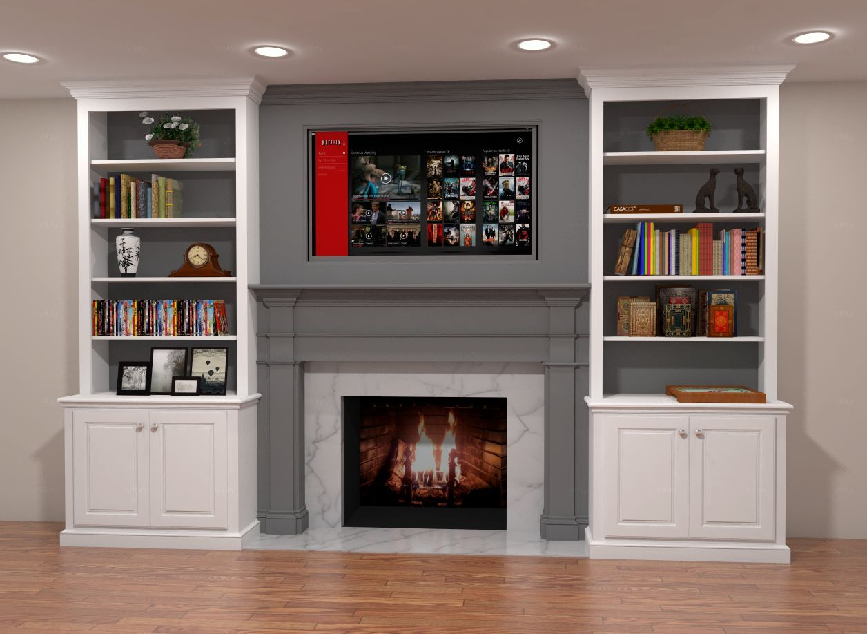 Two-tone built-in fireplace surround. Features gray mantle and ...