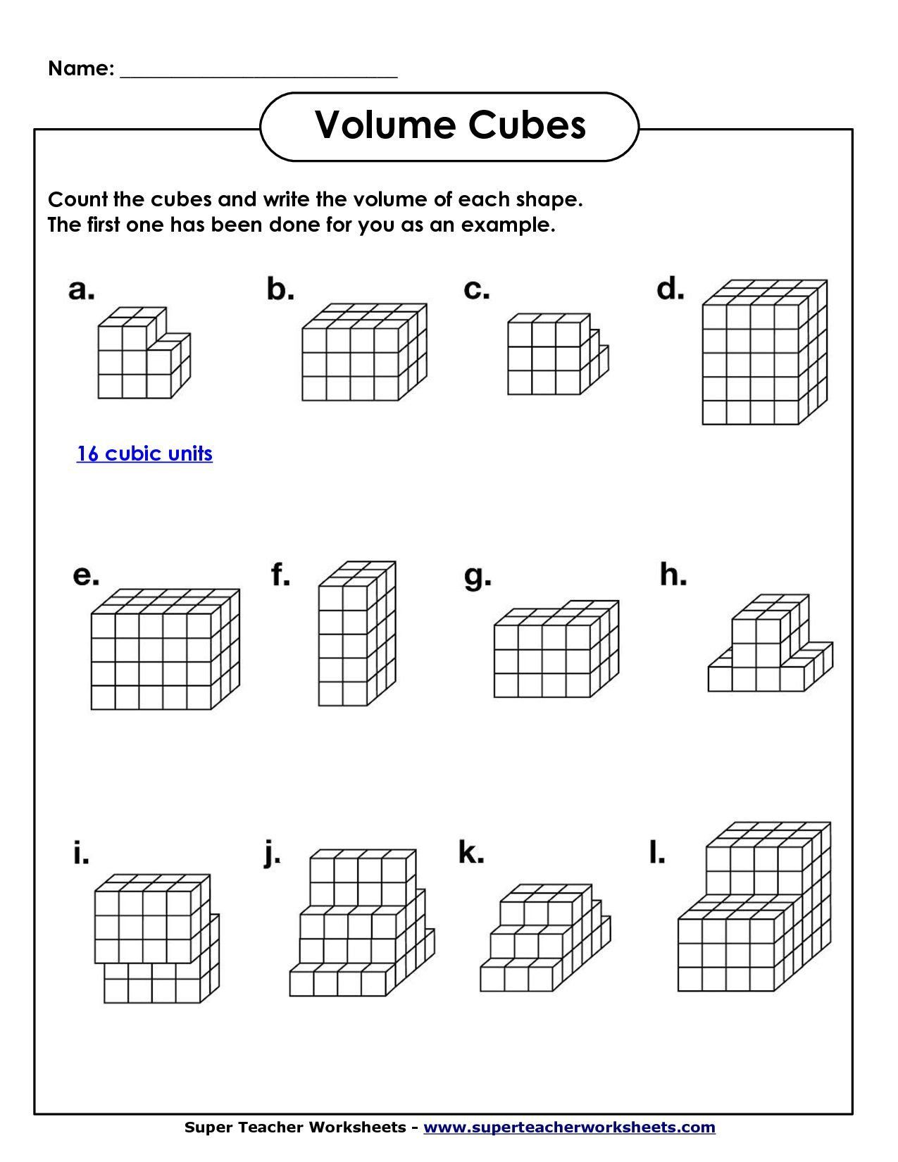 Volume Missing Dimension Worksheet Image From In