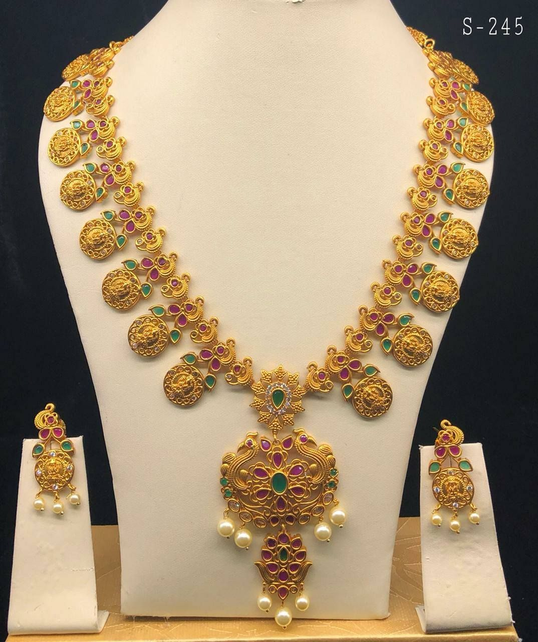 Beautiful one gram gold lakshmi devi kasu mala studded with multi