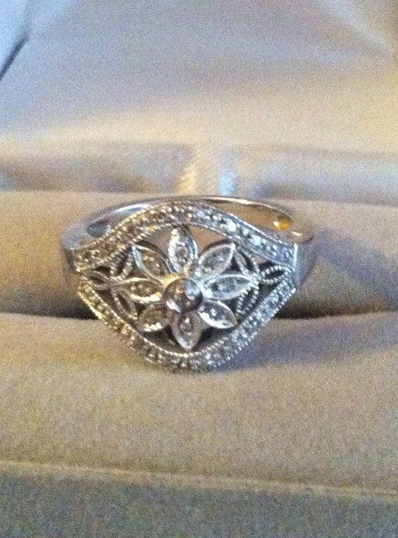 Vintage Mad Men Style Diamonds & White Gold Ring