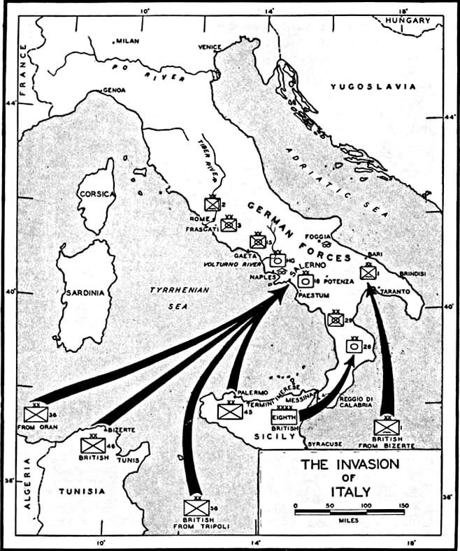 Map of the allied invasion of italy 1943 italian campaign ww2 invasion of italy 3 september 1943 public domain find this pin and more on italian campaign ww2 gumiabroncs Gallery