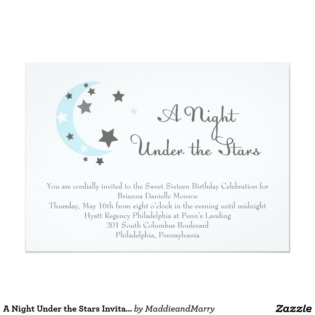 A night under the stars invitation 5 x 7 invitation card a night under the stars invitation 5 x 7 invitation card stopboris Image collections